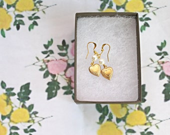 Pearl and heart charm dainty earrings.