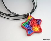 Rainbow Star Pendant in Polymer Clay Filigree