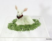 Fenton Satin Glass Baby Deer Figurine, Signed with Paper Label