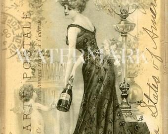 Pretty Girl Woman Champagne Cupid Sepia French Post Card Ephemera Vintage Scrapbook Instant Digital Download