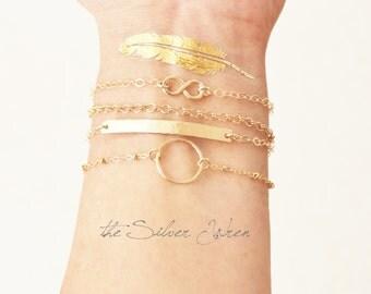 DAINTY Gold Ring Bracelet/ Gold Eternity Bracelet/ Layering Bracelet/ Dainty 14kt Gold Filled Bracelet/ Delicate Bracelet