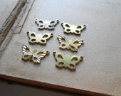 6 pc vintage butterfly pendants and charms - old new stock connector charms