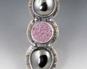 Pink Druzy and Hematite Ring, size 8.75 ring, drusy and hematite ring, pink and gray,