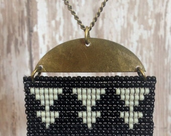 Black & White Beaded Triangle Pendant