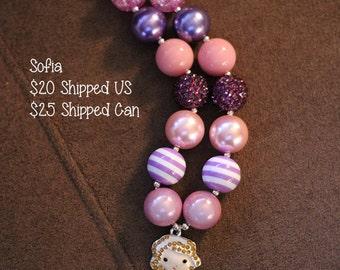 SALE 25% off! Princess Sofia Chunky Bubblegum Necklace RTS
