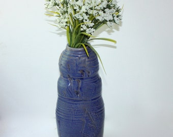 Tall Blue Vase Art Pottery in Mat Blue Stoneware Hand Thrown Paddled Texture for Dry or Cut Flowers