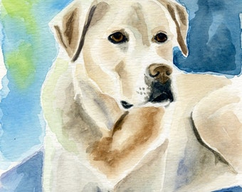 Yellow Lab Painting, Original Watercolor Dog Painting, size 5 x 7