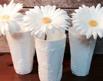 Vintage Milk Glass Tumblers, Water Glasses Set of 12