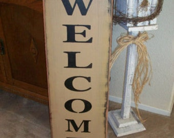 Extra Large WELCOME sign,  primitive wood