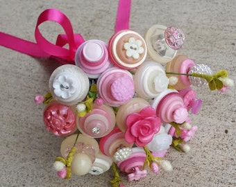 It's a Girl Button Bouquet - Pink Button Bouquet