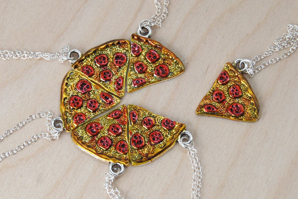 bff necklace pizza slice best friend necklace by
