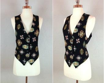 Vintage 80's aztec tapestry vest / southwest aztec tapestry