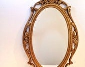 vintage mirror - large oval gold framed wall mirror - Syroco mirror