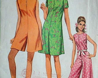 Vintage 1960's Simplicity 7139 Sewing Pattern, Pantdress In Three Lengths, Size 10, 31 Bust, Retro Mod