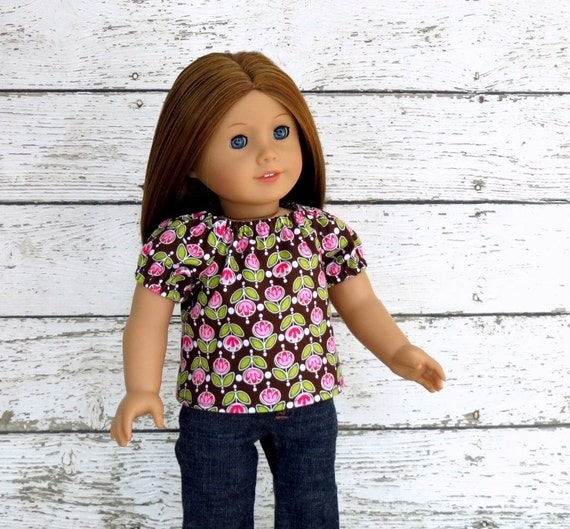 Floral Peasant Top in Brown Pink Green, fits American Girl Doll Clothes, Short Sleeve Shirt