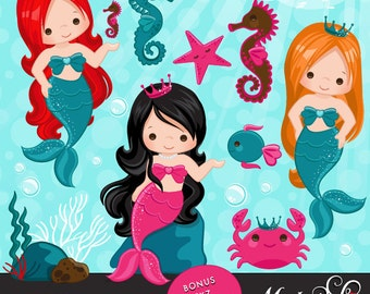 Mermaid Clipart & Under sea graphics, little mermaid characters, seahorse, seashell, crab, turtle, fish, embroidery, printables, applique