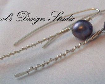 Grey Freshwater Pearl and Argentium Sterling Silver modern wirewrapped hoops