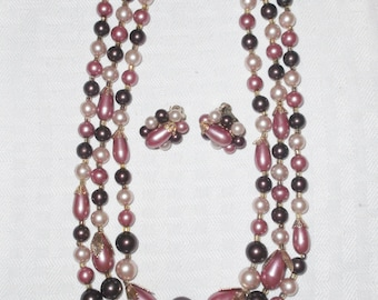 50s 60s Vintage Cluster Beaded Earring and Necklace Set Mauve and Plum Japan