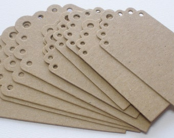 Elisse Eyelet Scallop Tags  - Chipboard Die Cuts - Bare Gift Tag Embellishments - 2 Graduated Sizes