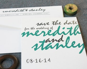 Rustic Wedding Save the Date, Woodland Wedding, Green Save the Date, Hand Lettered, Custom Wedding, Green Wedding - Meredith and Stanley