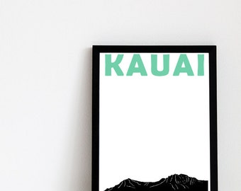 Kauai Print // Hawaii Art // Kauai Art // Travel Poster // Hawaiian Print // Hawaiian Art // Kauai Poster / Gift for Couples // Wedding Gift