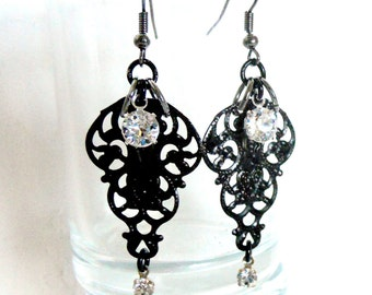 Black filigree earrings w crystals Victorian India Inspired perfect for that steampunk bride tribal tea party wedding or special date night