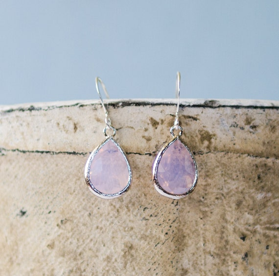 Teardrop earrings | silver, Opal, drop, bezel glass, charm, unique, bridesmaid gift, ocean-inspired, glass, jewelry, Handmade in Santa Cruz