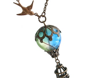 Bird and Balloon - Hot Air Balloon Airship Necklace Jewelry Jewellery