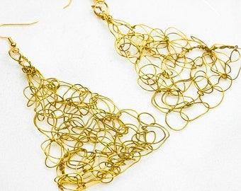 Gold Crochet Wire Earrings