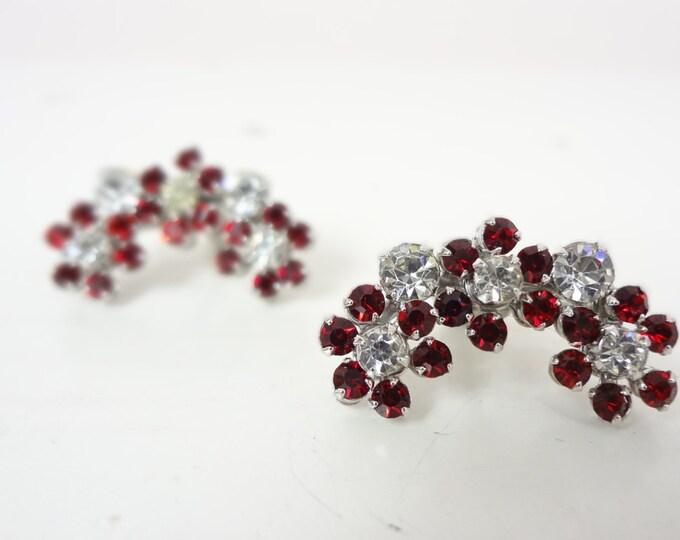 1950s Red & White Rhinestone Screw Back Earrings