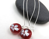 Dichroic Earrings - Silver Blossom Earrings - Red and Silver Earrings - Long Elegant Earrings
