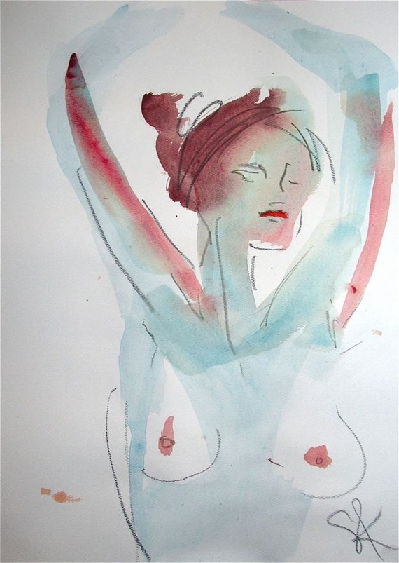 Nude Painting of One minute pose 74.9  by Gretchen Kelly