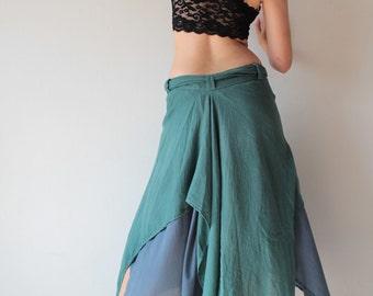 Skirt two colours combination linen/cotton  S-L (colour No.7&No.8)