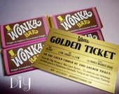 Wonka Bar & Golden Ticket invitations Willy Wonka birthday party Wonka candy bar wrappers Willy Wonka invitations printable personalized PDF