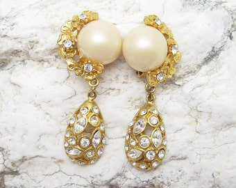 Long Rhinestone Pearl Earrings Unusual Vintage Jewelry E6207