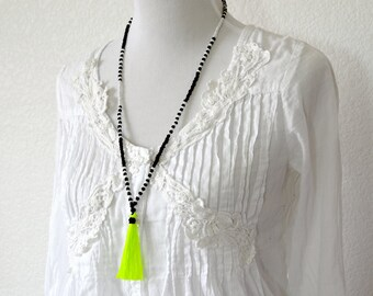 NEON YELLOW Tassel Necklace - Neon Necklace -Extra Long Necklace - Boho Necklace