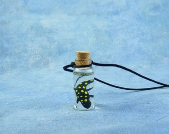 Spotted Salamander Specimen Jar Necklace, Handmade Biology Jewelry