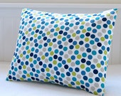 lumbar cushion cover blue teal lime green grey dots, 12 x 16  inch spots decorative pillow cover