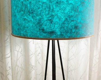 aqua turquoise paisley pattern drum shade paper lamp shade. Black Bedroom Furniture Sets. Home Design Ideas