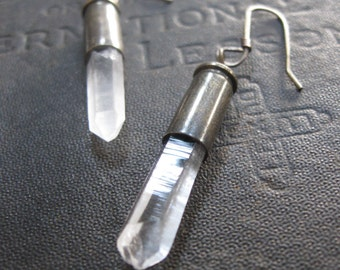 Quartz Bullet Earrings - Refraction - Brass and Quartz Crystal Points