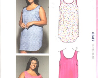 Kwik Sew 3647  Womens Easy Pullover NIGHTGOWN and Top Pull On Shorts Pattern Plus Size Sewing Pattern Size 1X 2X 3X 4X  Bust 45 - 57 UNCUT