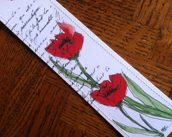 Watercolor Bookmark of Red Poppies w/Free Shipping