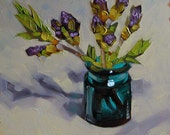 Original Painting, Floral Still Life, Oil Painting, Flower Buds, Nearly Lilacs, Garden Art