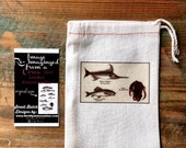 Small cotton bag, fish bag 4x6 favour bag.