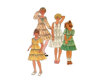 Easy Girls Tiered Dress Pattern Sleeveless or Puff Sleeve Play or Party Dress Butterick 6090 Size 10 1980s Vintage Sewing Pattern