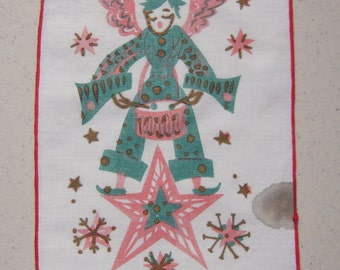 Vintage Christmas Textile Mod Pink Angel Plays the Drum