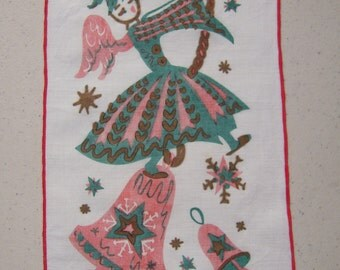Vintage Christmas Textile Mod Pink Angel Rings the Bell