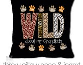 Grandma gift - wild about my grandkids personalized DARK fabric throw pillow - adorable Mother's Day gift