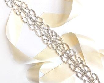 Sash - Art Deco Silver Rhinestone Wedding Dress Sash - Silver Rhinestone Encrusted Bridal Belt Sash - Crystal Extra Wide Wedding Belt
