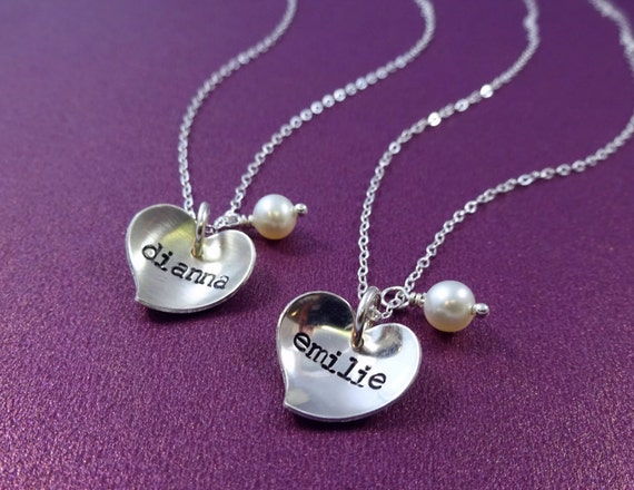 recital gift childs name necklace flower pearl